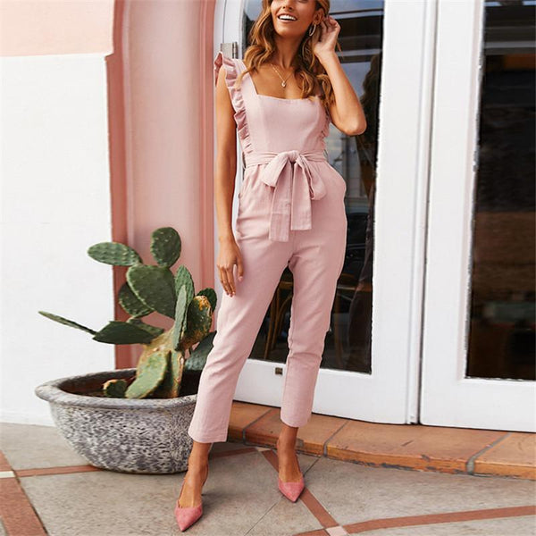 Gosfashion fashion Falbala Shoulder Straps Solid Color Waistband Jumpsuits