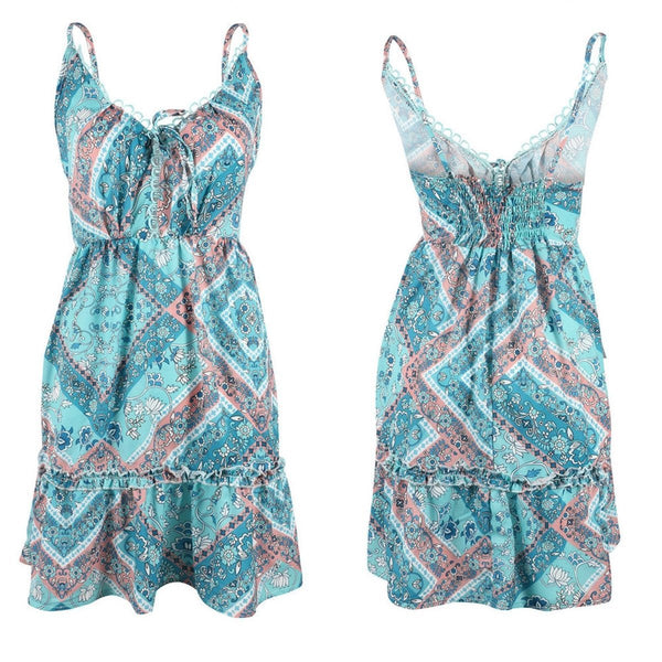 Gosfashion Sexy Sling Lace Wrinkle Waist Print Mini Dress