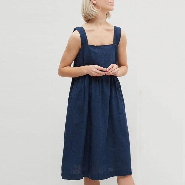 Gosfashion Fashion Casual Camisole Solid Color Loose Midi Dress