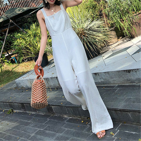Gosfashion Summer Slim High Waist Wide Leg Seaside Holiday Beach Pants Jumpsuit
