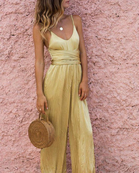 Gosfashion Sling Strapless Wide Leg Sexy Jumpsuit