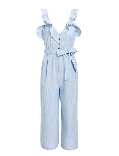 Gosfashion High-Waisted Ruffled Buttoned Wide-Leg Jumpsuit