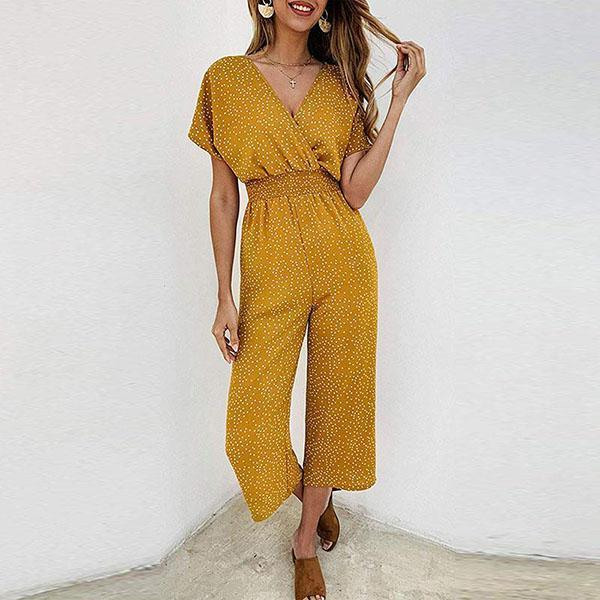 Gosfashion Sexy Wave Point V Collar Short Sleeve High Waist Jumpsuits