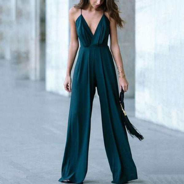 Gosfashion V-Neck Sling Wide-Leg Jumpsuit Casual Trousers