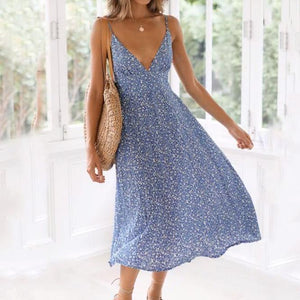 Sling V Neck Large Swing Midi Dress