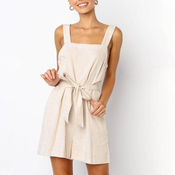 Gosfashion Side Pocket Bow Tie Strap Casual Wide Leg Playsuit