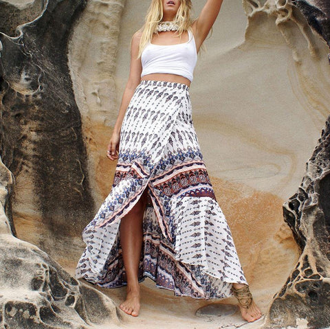 Gosfashion Bohemian Seaside Sexy Print Split Skirt