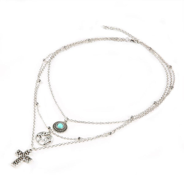 Gosfashion Fashion Map Cross Micro-Set Turquoise Multi-Layer Necklace