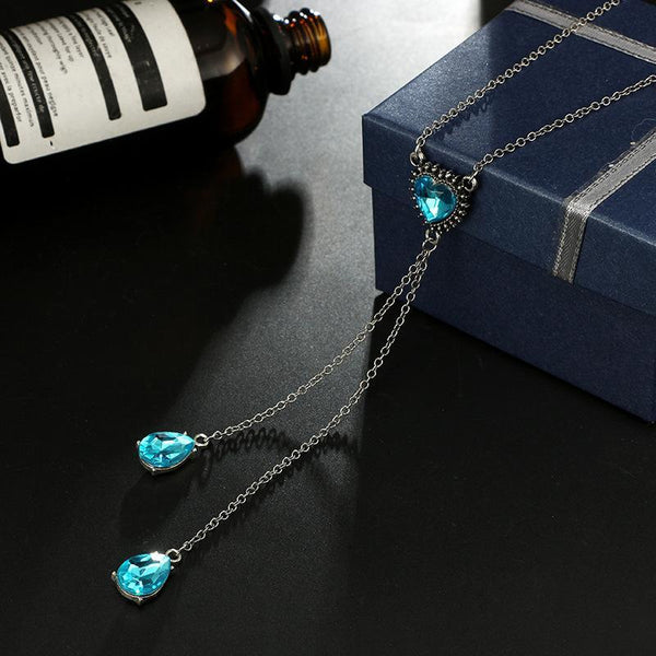 Gosfashion Ocean Heart Necklace Blue Gemstone Diamond-Studded Long Sweater Chain Crystal Pendant
