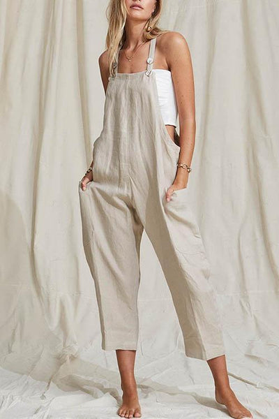 Gosfashion Button Pocket Solid  Ramie Cotton Jumpsuit