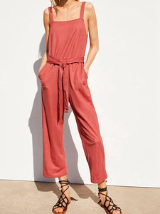 Gosfashion Straight Collar Wide Shoulder Strap Side Pocket Belted Jumpsuit