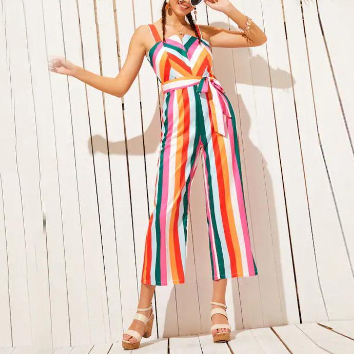 Gosfashion Fashion Casual Sling Color Strip Long Jumpsuit