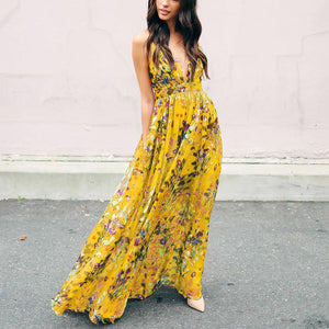 Gosfashion Sling Bohemia Floral Sleeveless Strapless Backless Maxi Dress