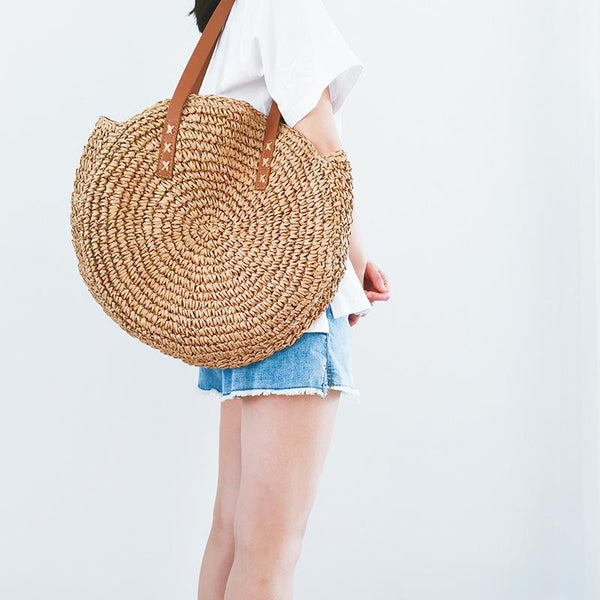 Gosfashion Round One Shoulder Straw Woven Bag Beach Seaside Holiday