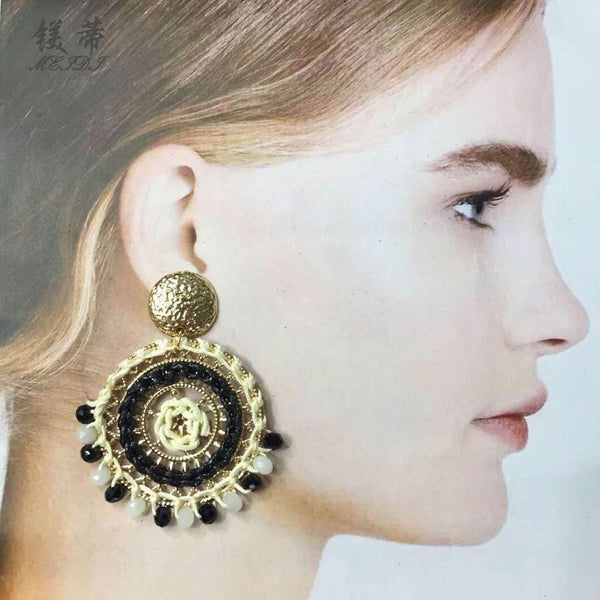 Gosfashion Hand-Woven Beads Geometric Round Bohemian Style Earring