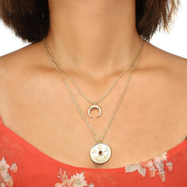 Gosfashion Fashion Popular Personality Retro Coin Moon Horn Combination Double Layer Necklace