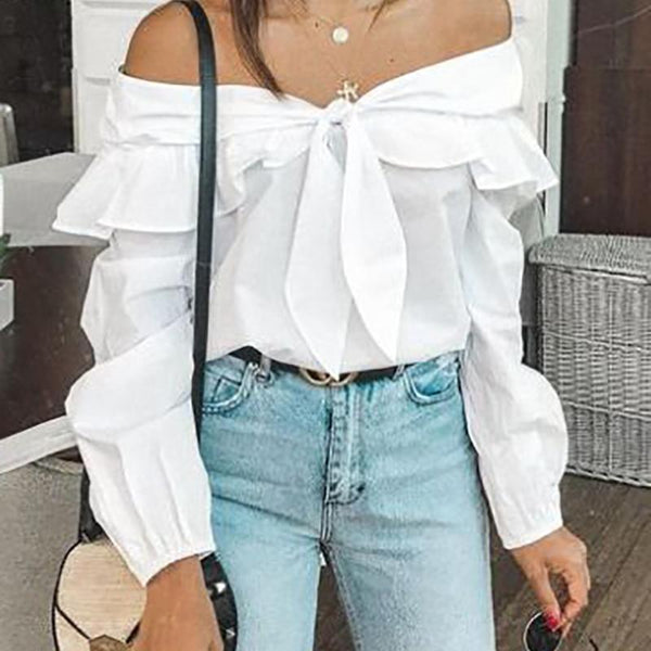 Gosfashion Sweet Off-Shoulder Long Sleeve Splicing Bowknot Blouse