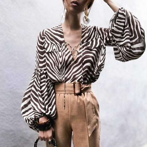Gosfashion V Neck Pleated Bishop Sleeve Chiffon Stripe Blouse