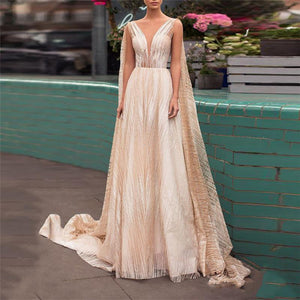 Gosfashion Deep V Sleeveless Ground Evening Dress