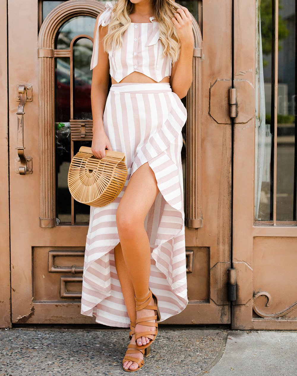 Gosfashion Sexy Striped Holiday Two-Piece Vacation Dress