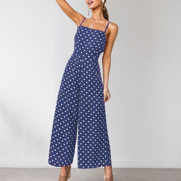 Gosfashion Sexy Polka Dot Sleeveless Behind Butterfly Strap Wide Legs Jumpsuit