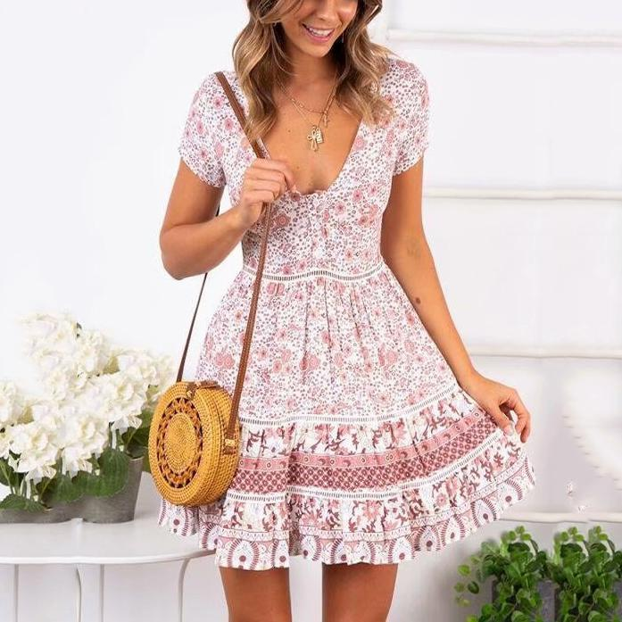 Gosfashion Fashion V-Neck Hem Lace Stitching Print Mini Dress