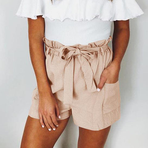 Gosfashion Casual Belted Loose Patch Pocket Pure Colour Shorts