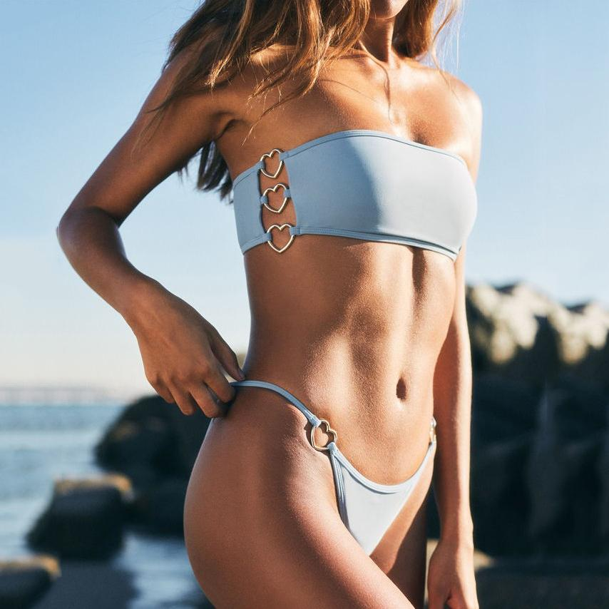 Gosfashion  New Tube Top Bikini Solid Color With Heart Ring Swimsuit