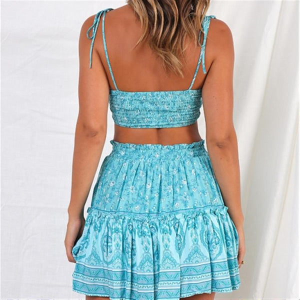 Gosfashion New Suspenders Open Back Pleated Two Piece Set