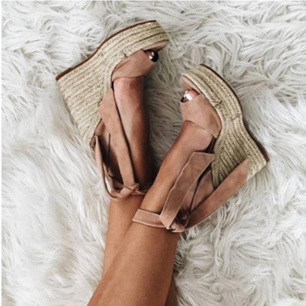 Gosfashion Summer Fashion Wedge Straps Open Toe Women's Sandals High-Heeled Shoes