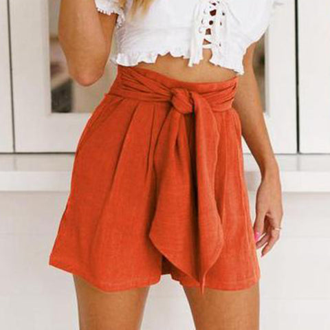 Gosfashion High Waist Tied Bandwidth Loose Leg Shorts