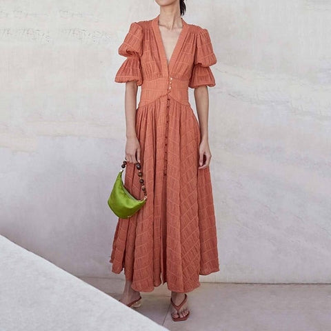 Gosfashion Elegant V Neck Bishop Sleeve Pleated Pure Colour Maxi Dress