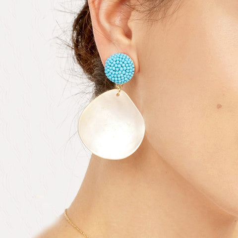 Gosfashion New Earrings Inlaid Beads Acrylic Petals Water Drops Long Shell Earrings