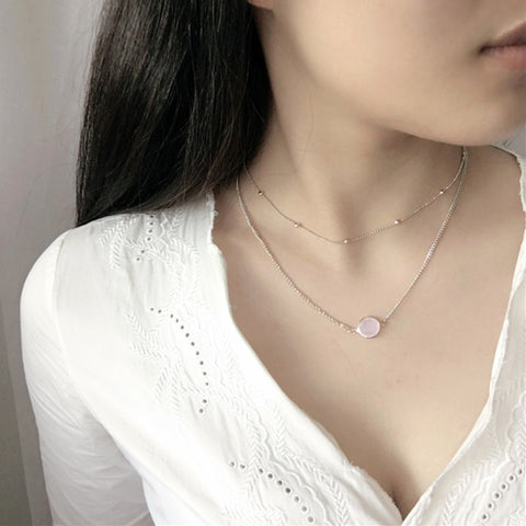 Gosfashion Simple Inlaid Gemstone Pendant Round Bead Chain Double Clavicle Chain Short Lady Necklace