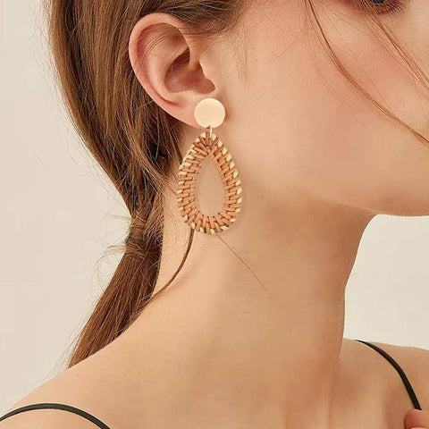 Gosfashion Ethnic Style Retro Dripping Vine Woven Earrings