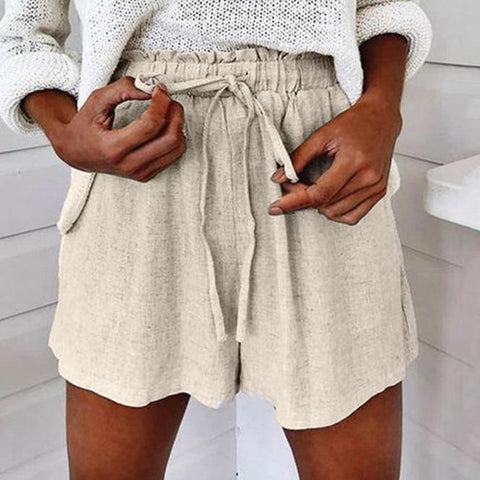 Gosfashion Drawstring Elastic Waist Cotton Casual Shorts