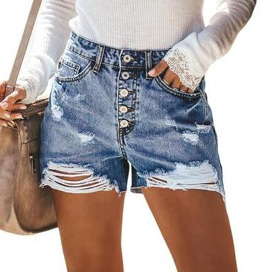 Gosfashion High Waist Slim Single-Breasted Design With Worn-Out Denim Shorts