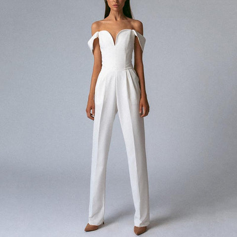 Gosfashion Commuting Boat Neck Off-Shoulder High-Waist Pure Colour Jumpsuit