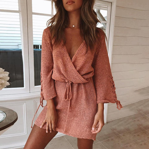 Gosfashion V-Neck Lace-Up Waist Flared Sleeves With Sweater Mini Dress