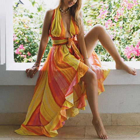 Deep V Halter Sleeveless Tie Color Striped Print Dress