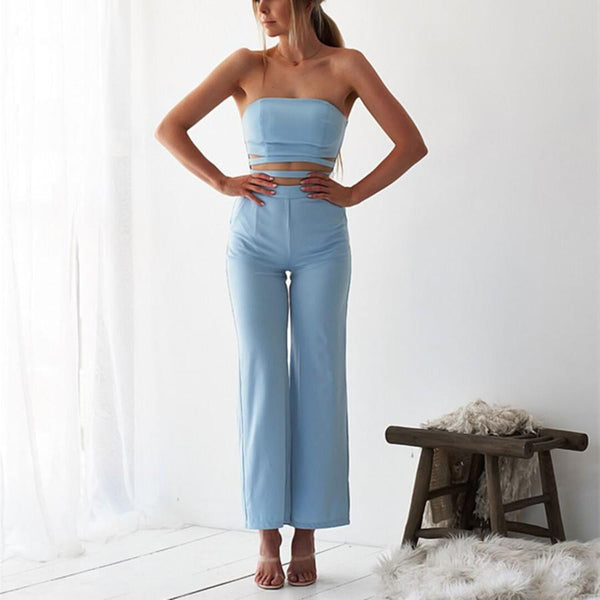 Gosfashion Sexy Sleeveless Tube Top Solid Color Jumpsuit