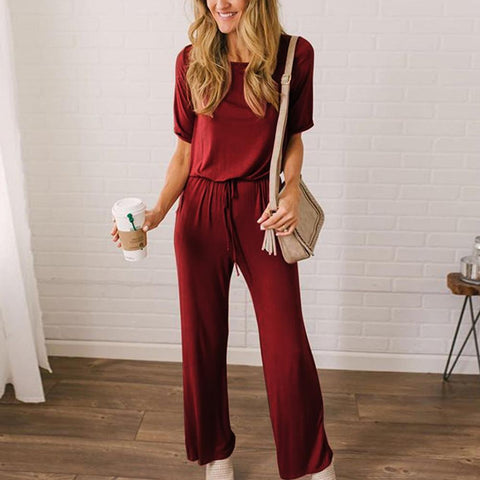 Gosfashion Short Sleeve Loose Strap Casual Jumpsuit