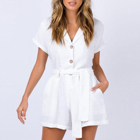 Gosfashion Casual V-Neck Short-Sleeved Belt With Single-Breasted Playsuit