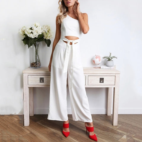 Gosfashion Sweet One-Shoulder Tube Top With Jumpsuit