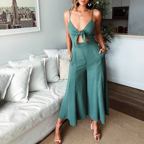 Gosfashion Sexy Lace-Up Tube Wide-Leg Jumpsuit