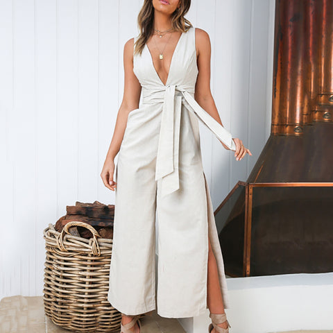 Gosfashion Casual V Neck Sleeveless Pure Colour Jumpsuit