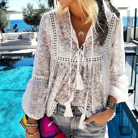 Gosfashion Casual V-Neck Floral Long-Sleeved Fringed Solid Color Top Blouse