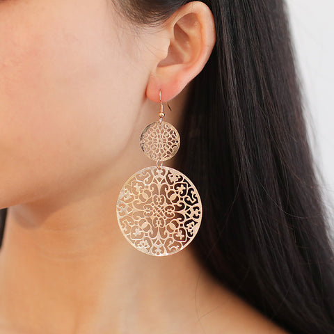 Gosfashion Women's Vintage Cutout Geometric Disc Earrings