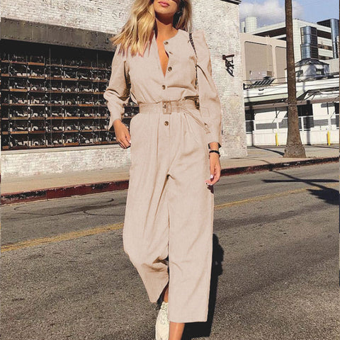 Gosfashion Vintage Corduroy Solid Color Jumpsuit