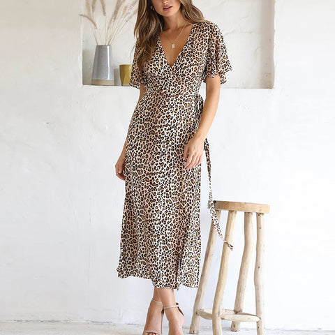 Gosfashion V Neck Short Sleeve Leopard Print Slit Dress